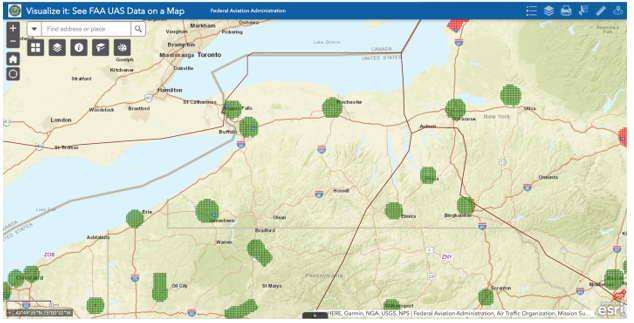 FAA UAS Data Map of Western New York.