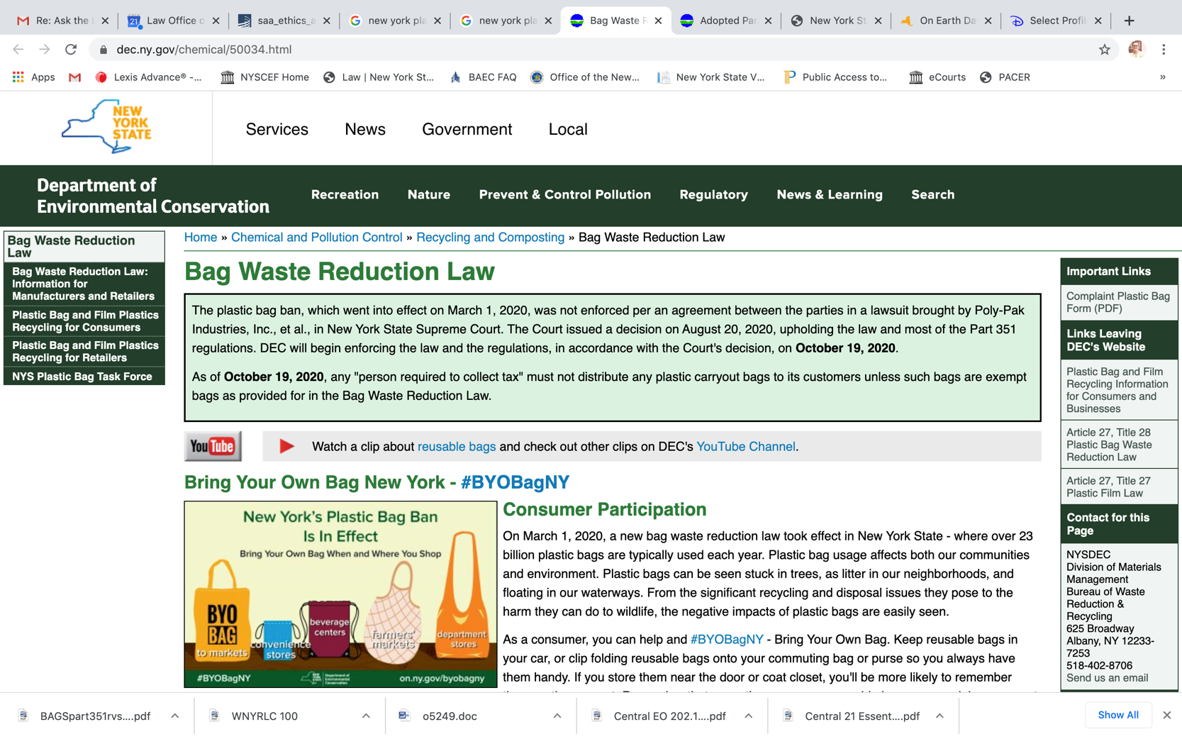Screenshot of NY DEC page detailing plastic bag ban.