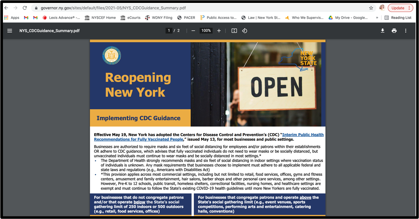 Screenshot of NY's guidance from May 19, 2021, which is now optional