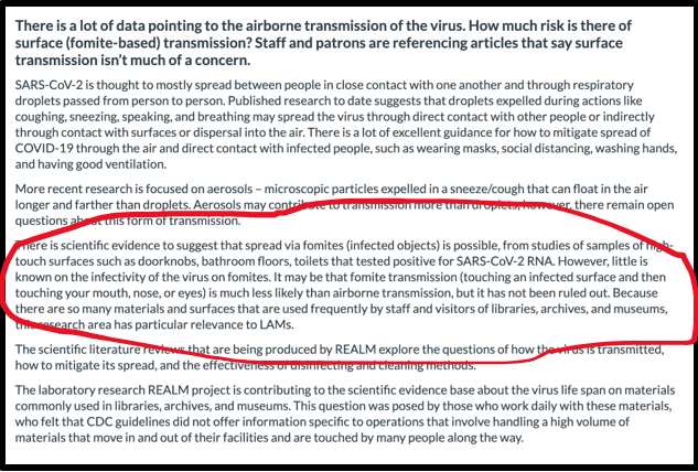 Screenshot of information from the REALM study regarding transmission concerns.