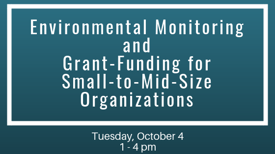 Environmental Monitoring with Jeremy Linden on Tuesday, October 1, 2019 at 1 pm.